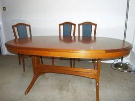 STAG SANDRINGHAM TEAK EXTENDING DINING TABLE & 6 CHAIRS