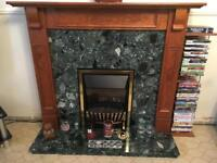 Fire surround, back plate, hearth and fire