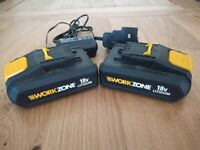 Pair of Workzone 18v Lithium Batteries with charger all in good condition.