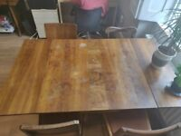 Rustic Wooden Dinning table and 3 x wooden chairs shabby chic