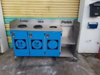 commercial stainless steel cupboard catering trolley cutlery prep table