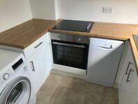 Beko electric oven & hob, and curved glass extractor fan