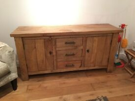 Solid Oak Side Cabinet with Drawers