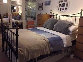 Victorian style Metal bed frame with planks