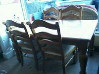 Mexican pine table plus 4 chairs
