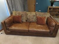 Leather three seat sofa, 'love seat' and footstool for sale
