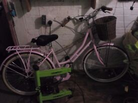 Ladies bike with exercise stand.
