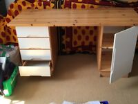Dressing table desk solid pine 4 drawers & cupboard