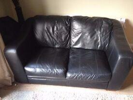 sofa - 2 seat / seater black leather.