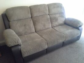 Fabric and leather sofa and chair