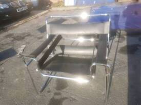 Chair - Quality Extra Large Comfy Black Leather & Chrome Frame Relaxer Chair
