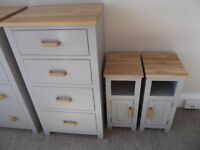 Oak and Painted pine matching Chest and 2 Bedsides (New Unused)