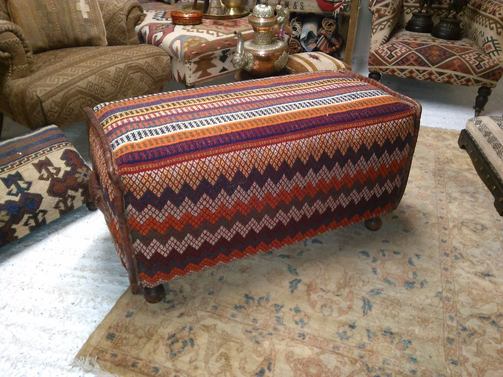 Antique Persian Kilim Migration Bag Bench Original Leather Work Ottoman Table Legs