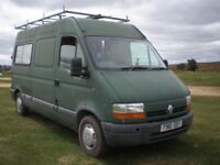 1999 Renault Master 2 berth camper with wood-panelled interior and woodburner