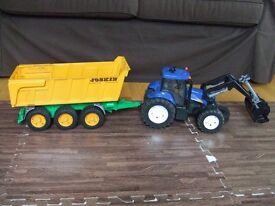 Bruder New Holland T8040 Tractor Farm toy w/ Yellow joskin tipping trailer sandpit play small hands