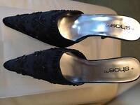 Black satin beaded mules - Size 6