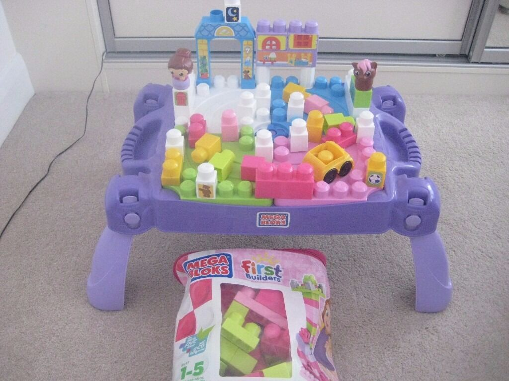 MEGA BLOKS PLAY N GO PINK TABLE WITH EXTRA MEGA BLOKS FIRST BUILDERS BIG BUILDING BAG