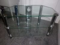 Chrome & Clear Glass TV/DVD Unit with Cable Gaps, Cost £119 in Nason's, VERY heavy!