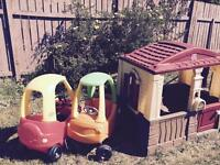 Little tykes cozy cottage and cars like new!