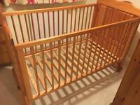 Mamas & Papas Pine cot bed and mattresses.