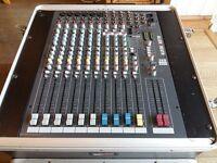 Allen & Heath ZED12FX mixing desk in Gator GRC10x2 rack case