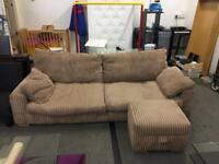 Large 4 Seater Sofa and pouffe