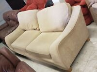 Large Cream Fabric 3 Seat Sofa