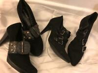 2 x Ladies Shoes / Ankle Boots - Size UK 4