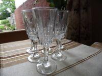 6 Beautiful GENUINE CRYSTAL White Wine/ Champagne glasses