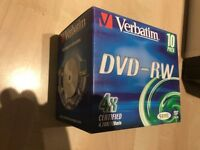 NEW Verbatim DVD-RW. 4x certified 4.76GB/120 min individual jewel cases. 10 pack