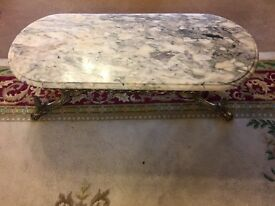 Statement Solid Marble topped table with ornate brass bottom