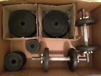 YORK Dumbell set 20kg (+ 4x5Kg extra plates)