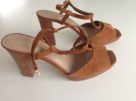 """Ladies Toffee coloured suede sling back Size 6.5 - 4"""" heel and small platform M&S Autograph"""