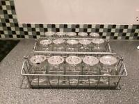 2 Ikea spice metal racks and 16 spice jars