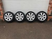 17'' GENUINE AUDI A4 B8 ALLOY WHEELS TYRES 5X112 CADDY VW
