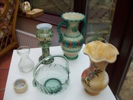 some vases in glass and pottery
