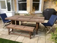 Garden table with 2 benches, 2 chairs with cushion covers and winter table cover for sale for £150