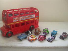 toys-disney cars bundle incl storage bus,mini adventures cars and talking car-just 14pounds