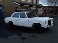 MERCEDES W115 230 SALOON CLASSIC CAR, BARNFIND, UNFINISHED PROJECT, ROLLING SHELL, MANY NEW PANELS