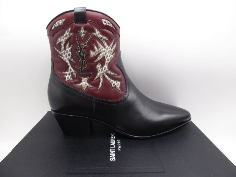 7e6b14f1997 Details about Saint Laurent Rock 40 YSL Carved Western Ankle Boots Booties  Snake 36 6