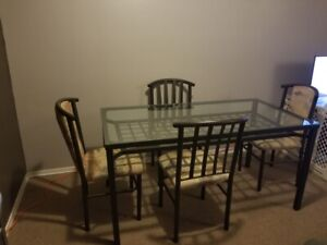 Brass glass table and 4 chairs and coffee table
