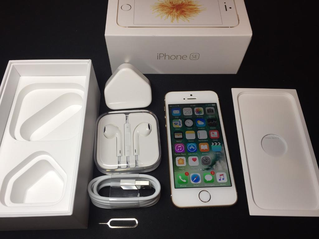 iPhone SE 16GBGoldUnlockedin Mansfield, NottinghamshireGumtree - iPhone SE 16GB Gold Unlocked to work on any network.Has the same processor as iPhone 6S but in a smaller phone. iPhone is fully functional. In excellent condition, see photos. Comes with box, charger, headphones and cable.For sale only, no...