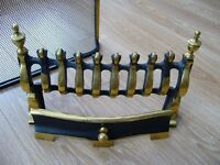 Brass fire grate front and fire guard - good condition