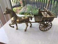 SOLID BRASS HORSE AND CART