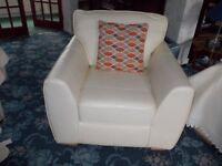 2 Piece Cream Leather Suite, BRAND NEW UNUSED
