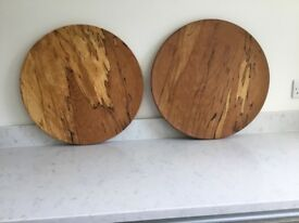 Two hand turned platters