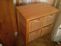 SET OF RATTAN WICKER STORAGE DRAWS IN SOLID PINE FRAME IN NICE CLEAN CONDITION