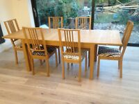 Ikea extendable dining table + 6 chairs