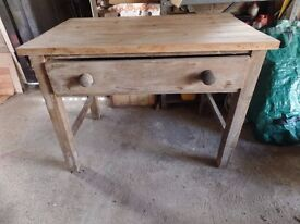 Vintage Antique Pine Table with Drawer