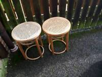 Cane coffee tables pair